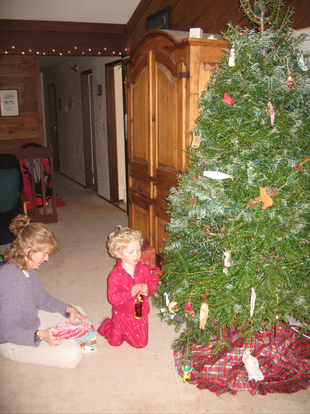 Carrie and Torsten decorating the Christmas Tree, 2006