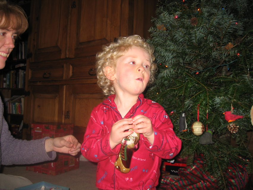 Torsten decorating the Christmas tree, 2006